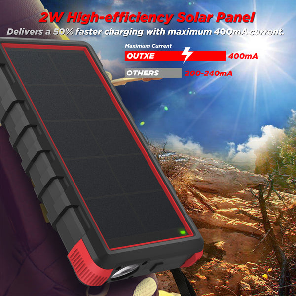 [Quick Charge] OUTXE Savage 24000mAh Rugged Solar Charger with Flashlight Dual Input Type C & Micro USB