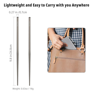 OUTXE Titanium Chopsticks Square Reusable Chopsticks with Mesh Carrying Bag