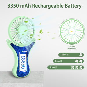 OUTXE Hand Free Personal Fan 3350mAh Handheld Mini Fan with 3 Setting 108° Free Rotation