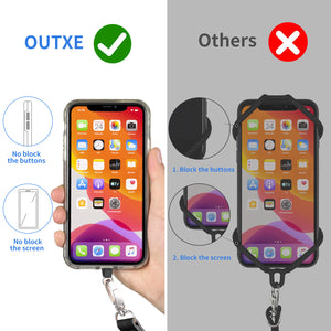 OUTXE Phone Lanyard 2 Packs - 2× Adjustable Neck/Crossbody Lanyard, 4× Durable Patches, Nylon Universal Cell Phone Lanyard Compatible with iPhone, Samsung, and All Smartphones (Black)