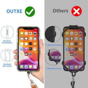 OUTXE Universal Phone Lanyard - 2× Adjustable Neck & Crossbody Lanyard, 4× Durable Patches, Nylon Cell Phone Lanyard Compatible with iPhone, Samsung Galaxy, and All Smartphones (Black + Blue Stripes)