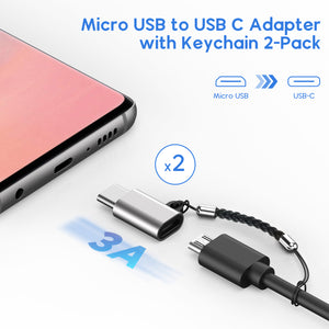 Micro USB to USB C Adapter 4-Pack + USB C to Micro USB Adapter with Keychain 2-Pack Compatible with Samsung Galaxy S10 S9 S8 Plus Note 9 8, MacBook