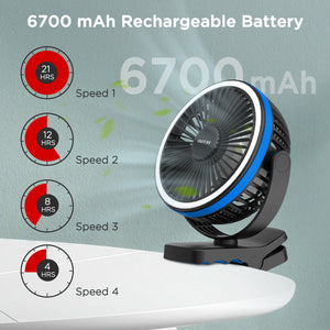 OUTXE 6700mAh Clip on Fan, 8-Inch Rechargeable Battery Operated Clip Fan with Night Light, 4 Speeds Strong Airflow USB Portable Fan for Golf Cart, Treadmill, Bed, Car, Stroller