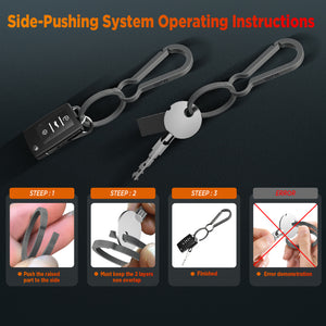 OUTXE TI Titanium Alloy Side-pushing Key Rings (K324) Save Your Fingernails, Group Your Keys, Use it for a Lifetime