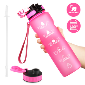 OUTXE Tritan 32oz Motivational Water Bottle with Time Marker with Straw & 2 Lids & Removable Fruit Strainer