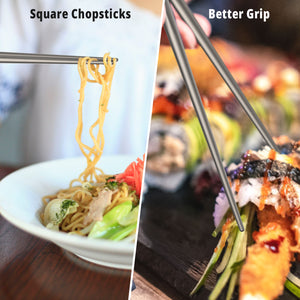 OUTXE Titanium Chopsticks with Straw Dishwasher Safe with Mesh Carrying Bag