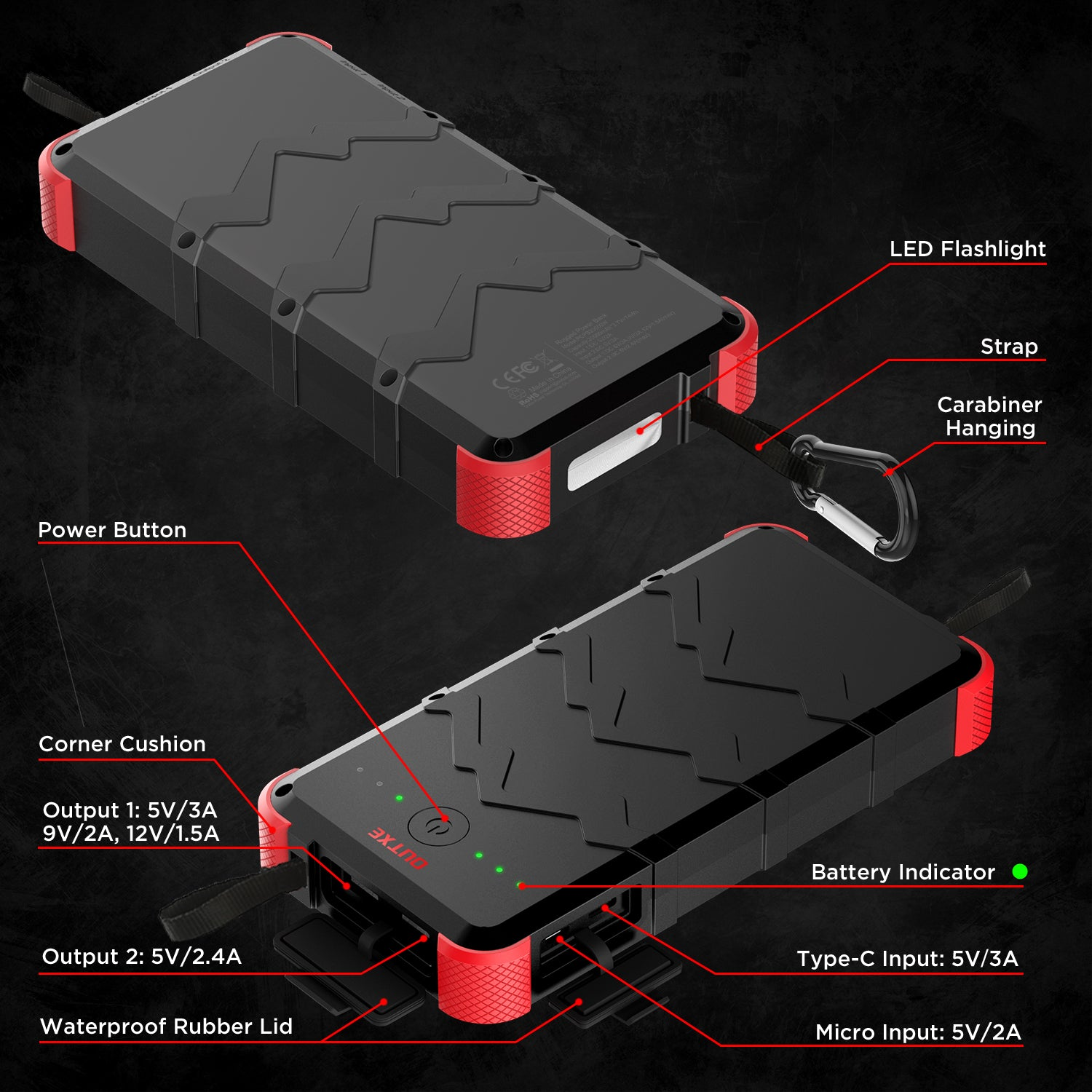 Outxe Savage 20000mah Rugged Power Bank For Outdoor