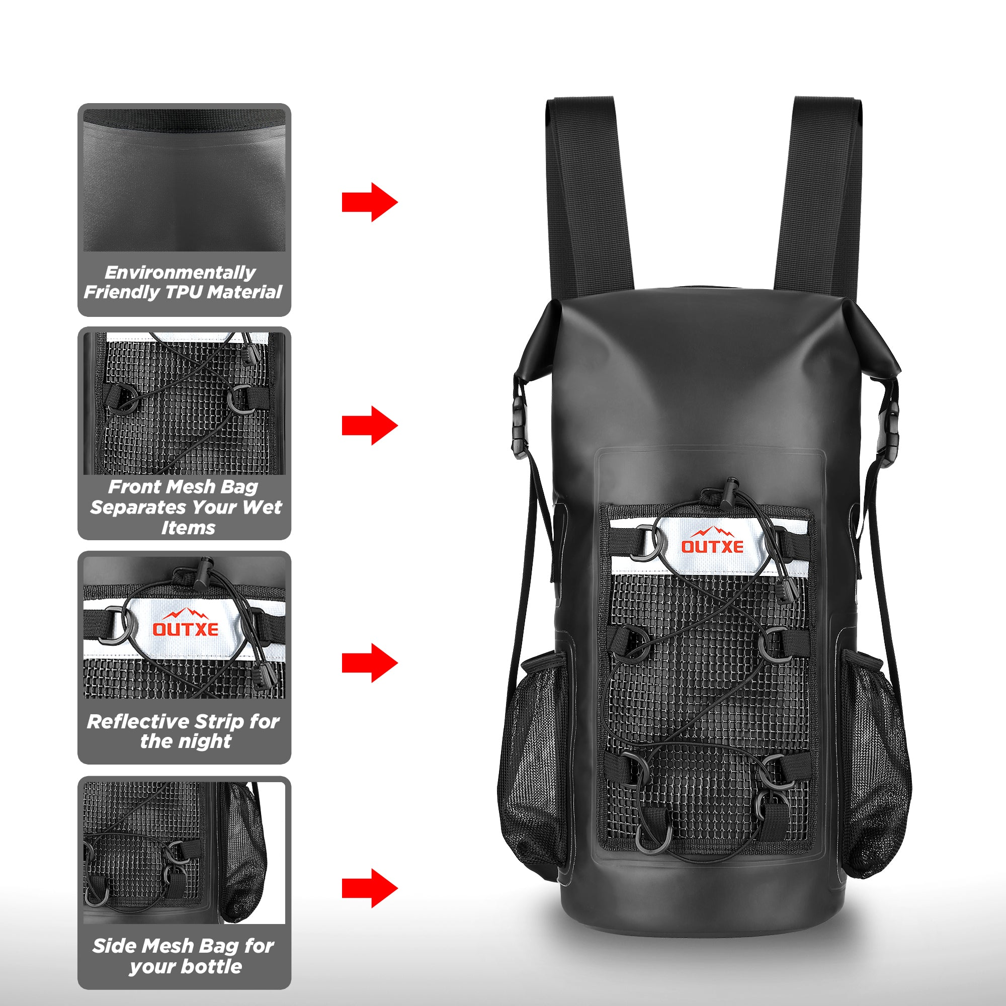b2bcbb1e2d OUTXE 100% Waterproof TPU Dry Bag Backpack 20L