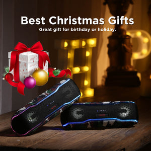 OUTXE Party Bluetooth Speaker 20W,  Flashing LED Lights Show & Tapping Booster, IPX7 Waterproof/Enhanced Bass/15H Playtime/TWS for Outdoor Parties