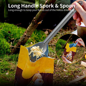OUTXE Titanium Long Handle Camping Spork and Spoon 8.7-Inch Soup Spoon Set