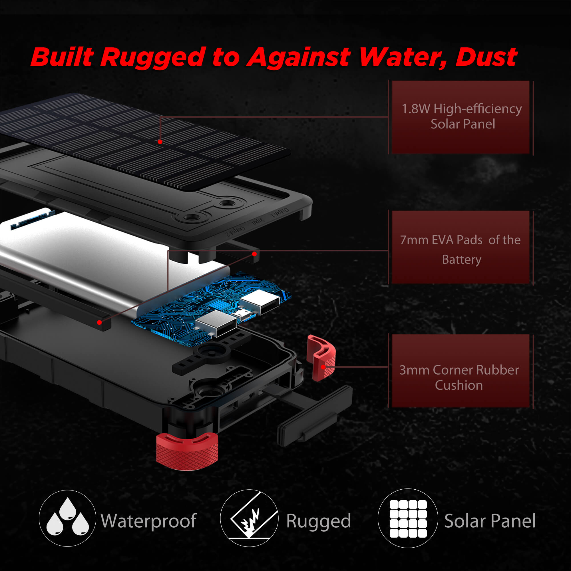 Upgrade] OUTXE Savage Solar Charger 10000mAh IP67 Waterproof