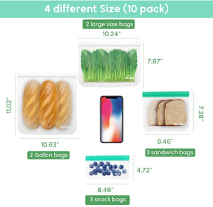 OUTXE Reusable Storage Bags 10 Pack 4 Different Sizes Ziplock Lunch Bags