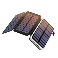 OUTXE 10000mAh Solar Charger with 3 Solar Panel Portable Solar Power Bank for Smartphones Tablets
