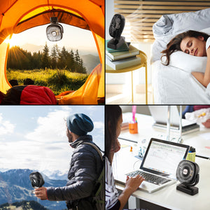 OUTXE Camping Fan with Night Lights USB Rechargeable Tent Fan 4400mAh/5200mAh Personal USB Fan