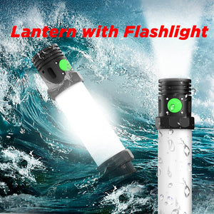 OUTXE 3-in-1 Rugged Lantern with Magnet, Flashlight, Power Bank 2600mAh, IP68 Waterproof
