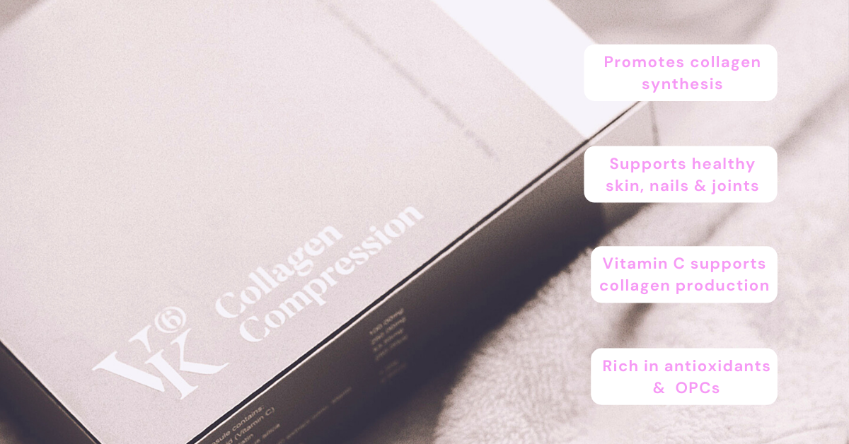 VK6 Collagen Compression promote collagen synthesis and cultivate a firmer, plumper skin skincare beauty boosting supplements Australian made