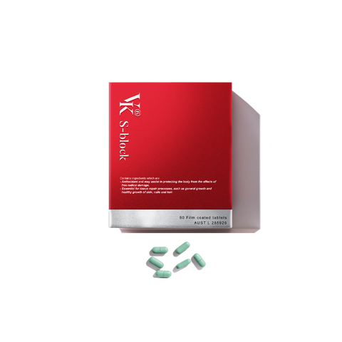 S-block Anti-glycation Antioxidant beauty-boosting supplement for AGEs 60 Tablets Made In Australia