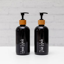 Black Glass Pump Bottles with bamboo pump