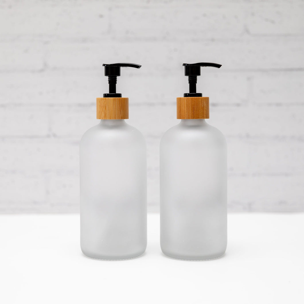 Frosted White Glass Pump Bottles with bamboo pump