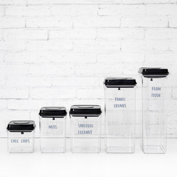 PLD Push Top Black Lid Pantry Container Set & Labels (or without) - 25 containers