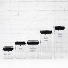PLD Push Top Black Lid Pantry Container Set & Labels (or without) - 15 containers