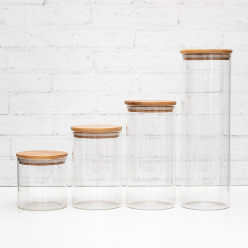 Set of 4 PLD Glass Canister with Natural Bamboo Lid