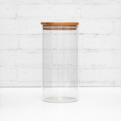 1 Litre PLD Glass Canister Jar with Natural Bamboo Lid