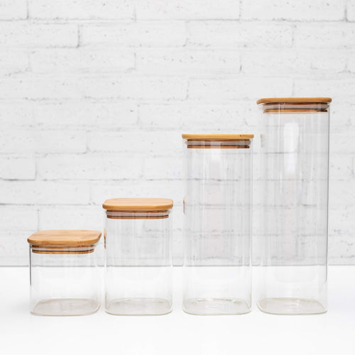 Square Set of 4 PLD Glass Canister with Natural Bamboo Lid