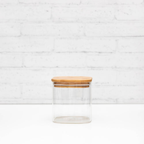 500ml Square PLD Glass Canister with Natural Bamboo Lid
