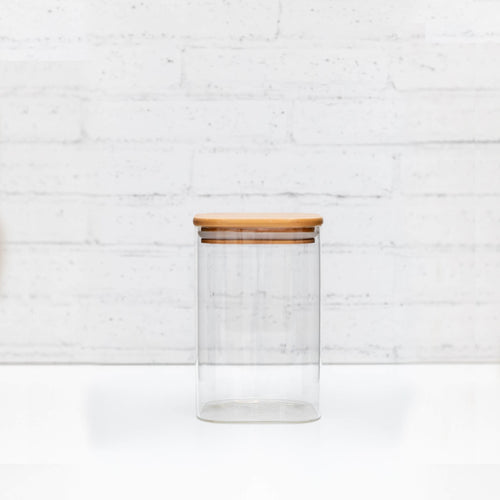 1L Square PLD Glass Canister with Natural Bamboo Lid