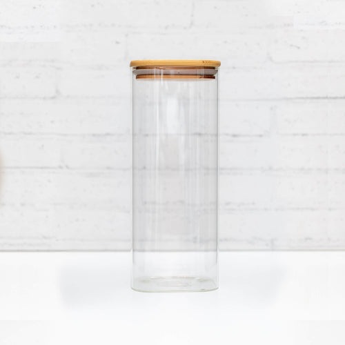 1.5 Litre Square PLD Glass Canister with Natural Bamboo Lid