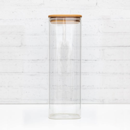 2 Litre Square PLD Glass Canister with Natural Bamboo Lid