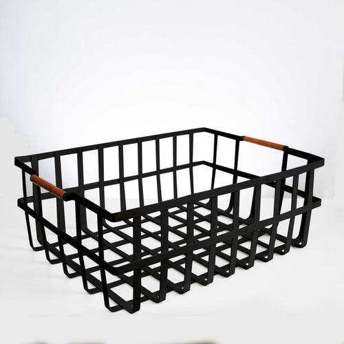 Large Storage Basket with wooden handle