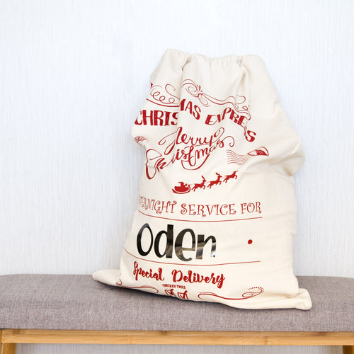 Personalised Christmas Santa Sacks - Red Christmas Express