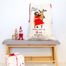 Personalised Christmas Santa Sacks - Girl & Reindeer
