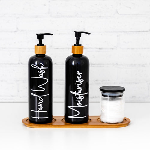 2 x Black pump bottles with glass jar and 3 hole bamboo tray