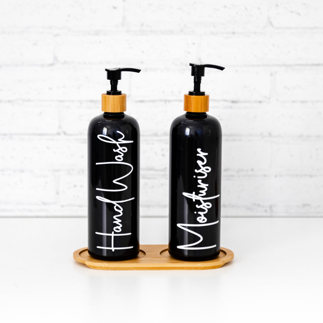 2 x Black pump bottles with 2 hole bamboo tray