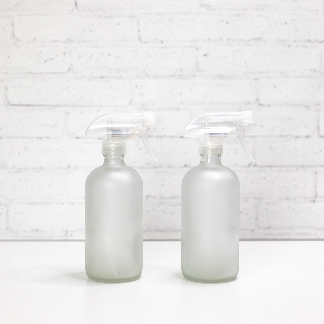 Frosted White Glass Refillable Spray Bottles 500ml
