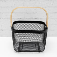NEATLY WIRED Small Black Basket & Wood Handle Storage Basket