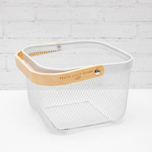 NEATLY WIRED Small White Basket & Wood Handle Storage Basket