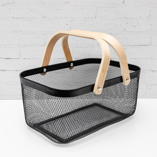 NEATLY WIRED Large Black Basket & Wood Handle Storage Basket