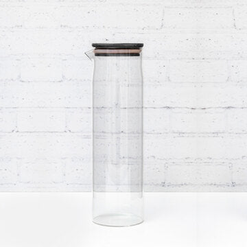 Black Bamboo Glass Bottle with spout