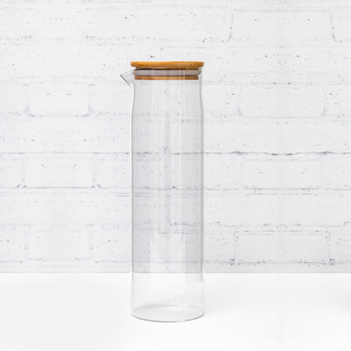 Natural Bamboo Glass Bottle with spout