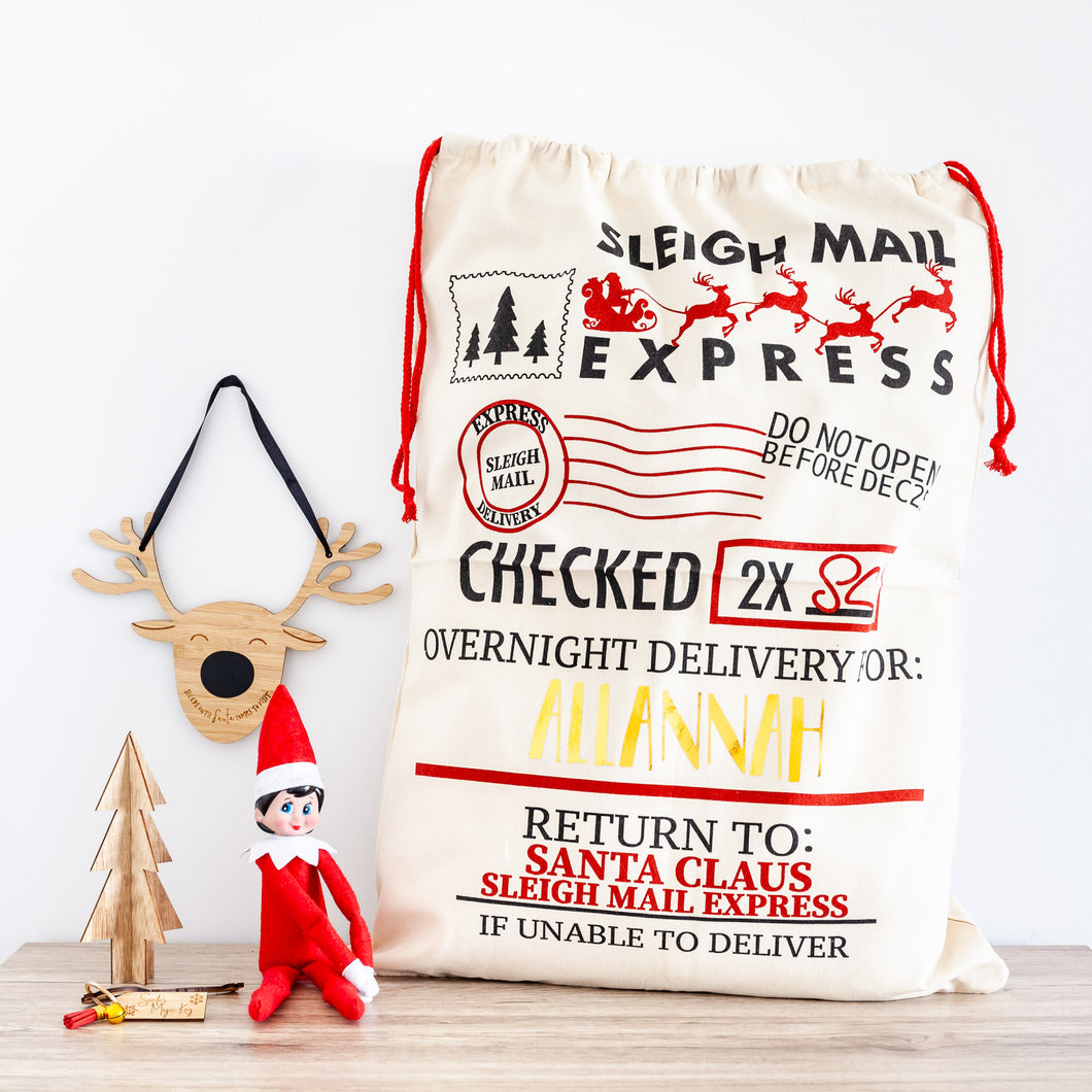 Personalised Christmas Santa Sacks - Sleigh Mail Express