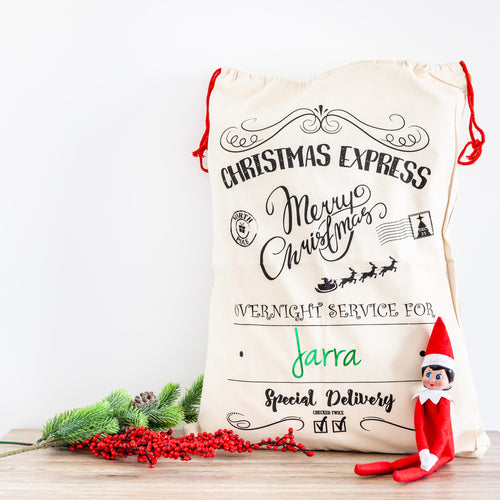 Personalised Christmas Santa Sacks - Black Christmas Express
