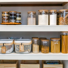 PLD Glass Natural Bamboo Storage Jars - 16 Pieces