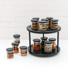 2 Tier Black Bamboo Lazy Susan