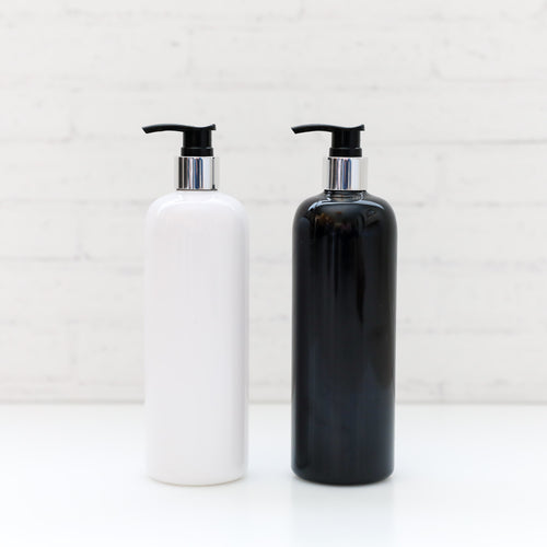 500ml Silver neck pump bottle (No label)