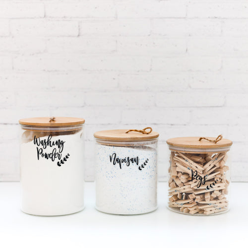 Glass Natural Bamboo Storage Jar with String Lids - Set of 3