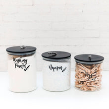 PLD Glass Black Bamboo Storage Jar with String Lids - Set of 3